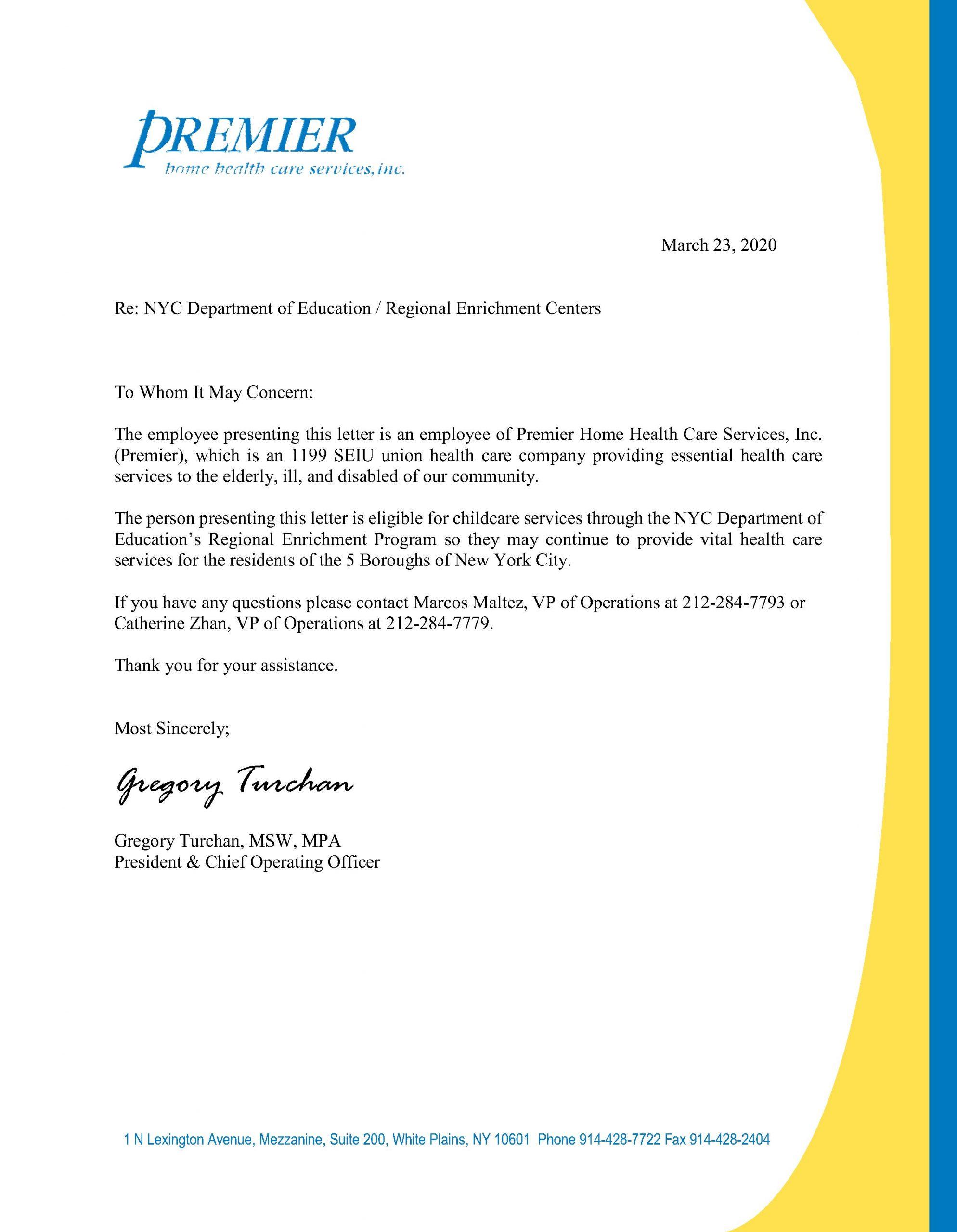 Coronavirus NYC Childcare Letter
